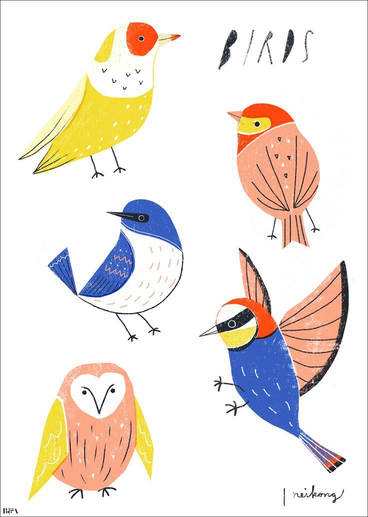 Neiko Ng - Birds, illustration, drawing, print, nature, animals, lettering