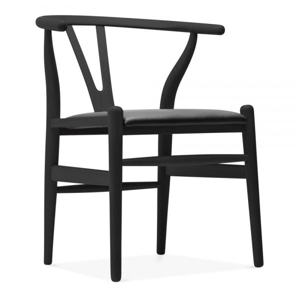 Danish Designs Wishbone Wooden Chair Black Faux Leather Seat