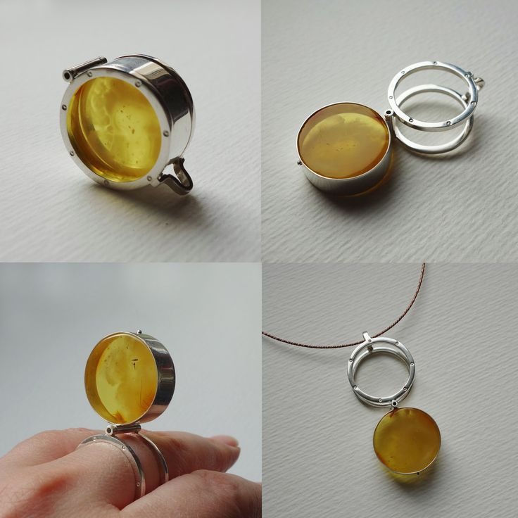 Sterling silver and Baltic amber ring-pendant