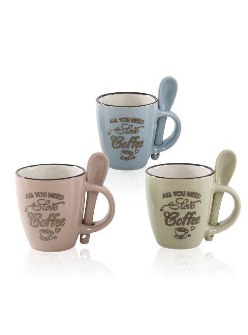 Tazzina coffee con cucchiaio in ceramica e scritta in bronzo. La vendita si…