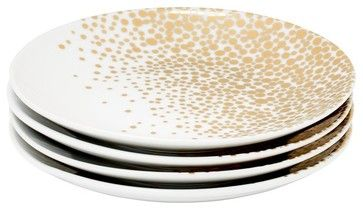 Bubbly Gold Dessert Plates, Set of 4 contemporary holiday decorations