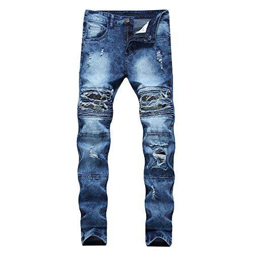 2df4a74fab5151  26.99 JOSONEY Men s Blue Ripped Slim Fit Moto Biker Jeans Distr ...