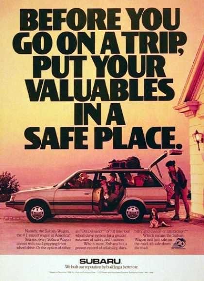 1988 Subaru Station Wagon ad.    To see the newest Subaru range come in and say hi:  Melville Subaru: 176 Leach Hwy, Melville 6156, Western Australia  P:  (08) 9330 4900   W: www.melvillesubaru.com.au  Like us on FACEBOOK https://www.facebook.com/MelvilleSubaru