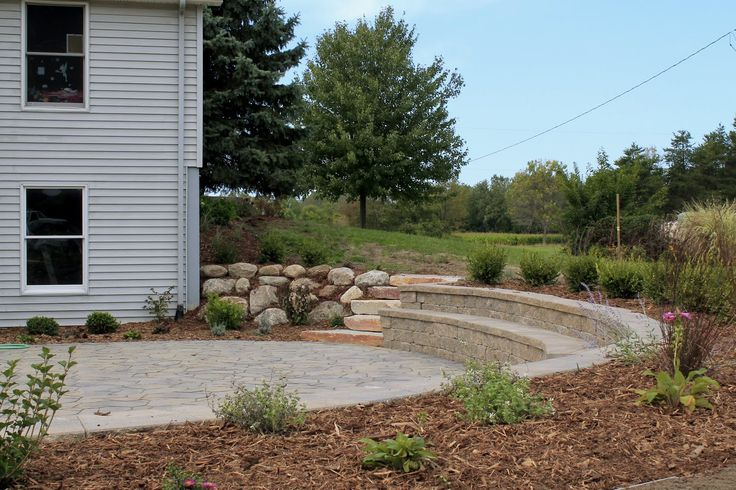 Landscape, Drainage, Flooding, Patio, Design, Gardens, Clay, Drain Tile, Belgard, Boulder Walls, Sitting Wall, Mixed Gardens, Michigan, Perennials, Chilton, Flagstone