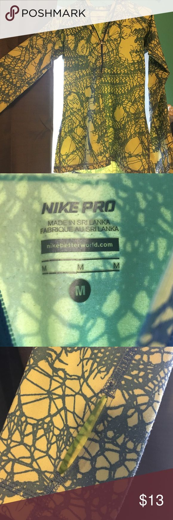Nike Pro Quarter Zip Blue and yellow Nike Pro quarter zip. Compression material. Nike Jackets & Coats