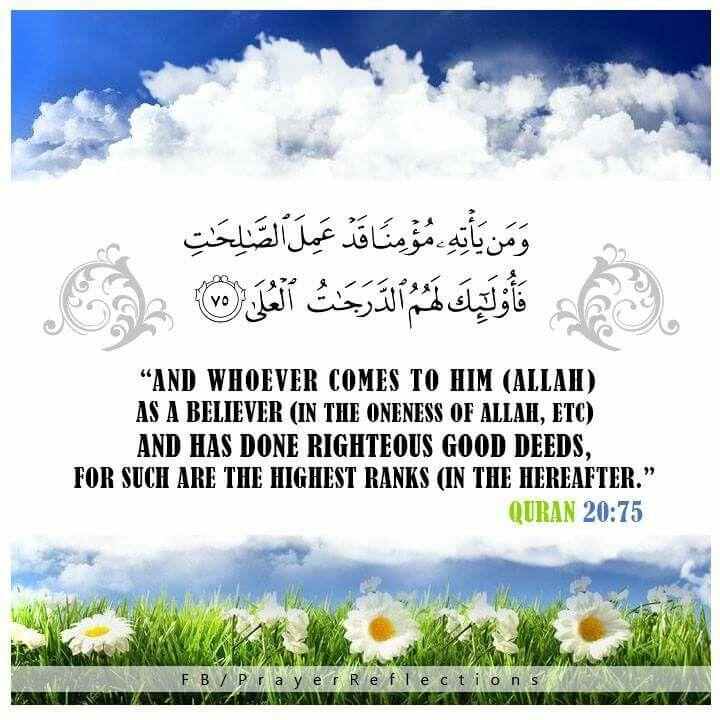 "✯ Allah the Almighty said: ""And whoever comes to Him (Allah) as a believer (in the Oneness of Allah, etc) and has done righteous good deeds for such are the highest ranks (in the Hereafter)."" #Quran 20:75 ✯✯✯ قال الله تعالى : ""وَمَن يَأْتِهِ مُؤْمِنًا قَدْ عَمِلَ الصَّالِحَاتِ فَأُولَٰئِكَ لَهُمُ الدَّرَجَاتُ الْعُلَىٰ."" سورة طه ✯✯✯ Transliteration Waman ya/tihi mu/minan qad AAamila assalihati faola-ika lahumu addarajatu alAAula . #quran"