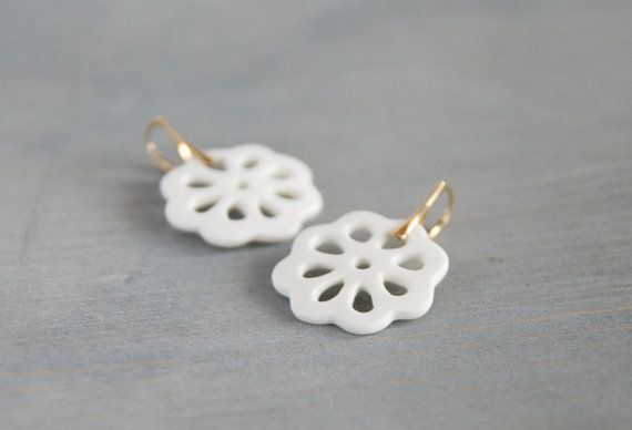 Stunning porcelain lace earrings. The earrings are handmade by my in my atelier, they are made of bone china porcelain, glazed, and fired in the