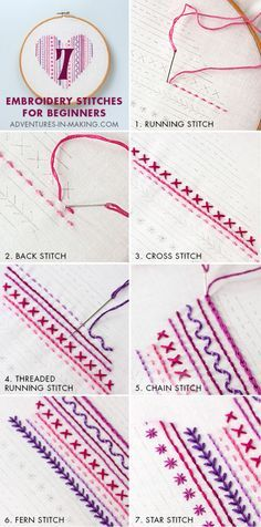 7 Embroidery Stitches For Beginners; Valentine's Embroidery Sampler program!