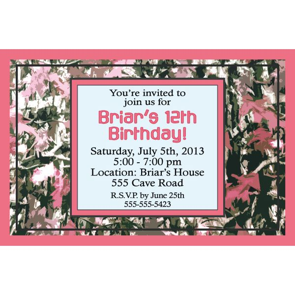 42 best pink camo party ideas images on pinterest | pink camo, Birthday invitations