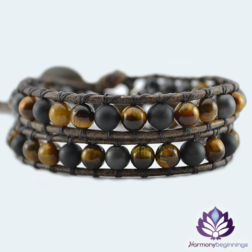 "Our <em><span style=""color: #5328ad;"">Strength </span></em>wrap bracelet has been designed with Tiger Eye and Grey and Black Brazilian Matte Hematite Gemstones. This powerful combination has a very strong grounding energy. This necklace is the perfect companion to our <a title=""Strength Necklace"" href=""http://harmonybeginnings.com/shop/strength-necklace/"">Strength necklace</a> and they look wonderful worn together. Created to promote and enhance our own inner strength, will and courage. ..."
