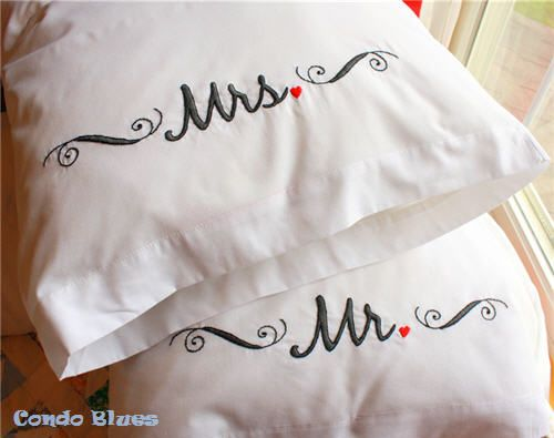 Mr and Misses hand embroidered pillowcase tutorial                                                                                                                                                                                 More