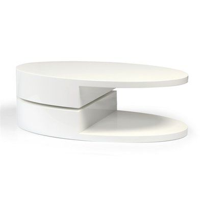 Beverly Hills Furniture Ergo Hi-Gloss Oval Coffee Table with #home decor sale & deals Finish:White Ergo Hi-Gloss Oval Coffee Table with Swivel Top The Ergo coffee table blends motion with style. Finished with bold white lacquer, the ova...