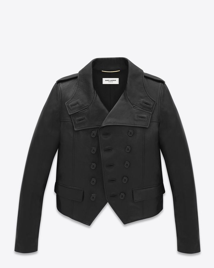Saint Laurent leather jacket with epaulets, double strap collar and peaked hemline.