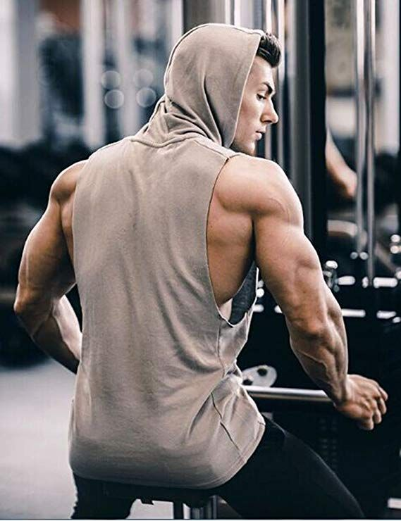 Coofandy Mens Tank Tops Shirts Workout Sports Hooded Vest Sleeveless Muscle Bodybuilding Gym Hoodie with Pocket Grey