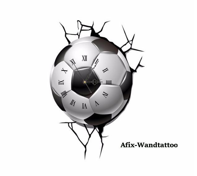 Superb Wandtattoo Fu ball mit UhrwerkVinyl WandtattooMa e komplett x cmDas Paket enth lt Wandtattoo Uhrwerk mit Zeiger ohne Batterie Teile die an die Wa
