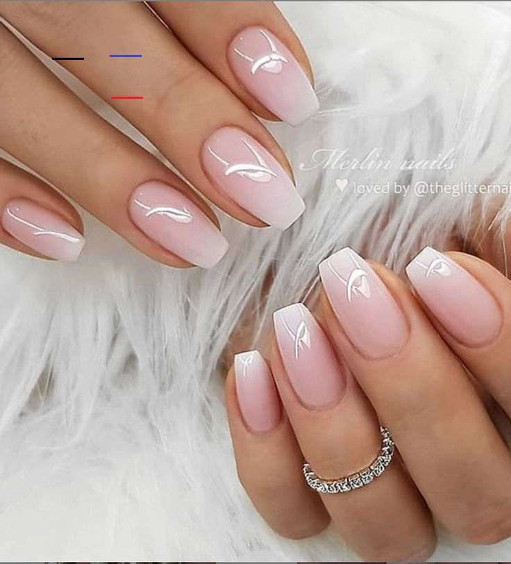 50 Pretty French Pink Ombre And Glitter On Long Acrylic Coffin Nails Design For Spring Summer Glitter Coffin Nails Acryl In 2020 Ombre Nagels Nagels Vierkante Nagels