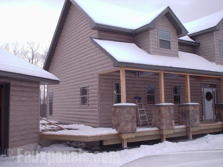 19 best log cabin vinyl siding images on pinterest log for Fake log siding for homes