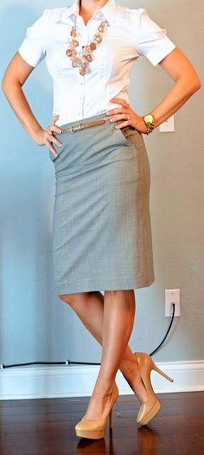 white button down, grey pencil skirt, gold belt, pink chunky bead necklace