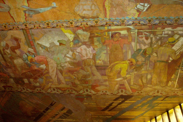 Magnificent mural on the ceiling of the chrysler building for Chrysler building mural