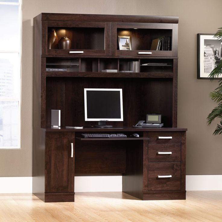 Sauder Computer Desk With Hutch Dark Alder