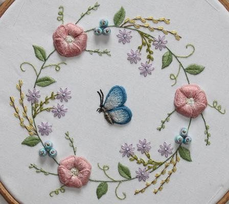 Embroidery blue butterfly. Cute for Elizabeth's room
