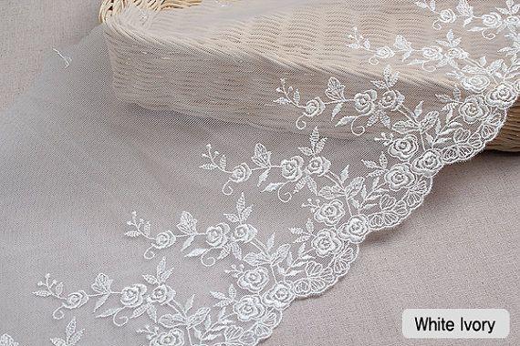 """14Yds Embroidery scalloped mesh White-Ivory eyelet lace trim 7.9""""(20cm) YH550 laceking2013"""