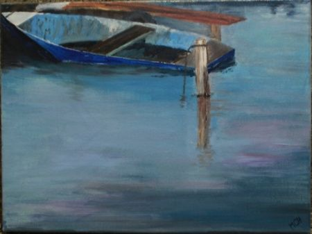 January 2016 barge on Lake Neusiedl - oil Martin Chytry