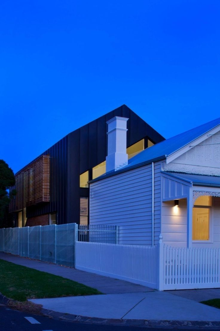 New vs old weatherboard house with contemporary extension