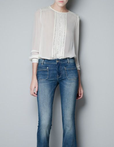BLOUSE WITH LACE FRONT - Shirts - Woman - ZARA United States    $79.90