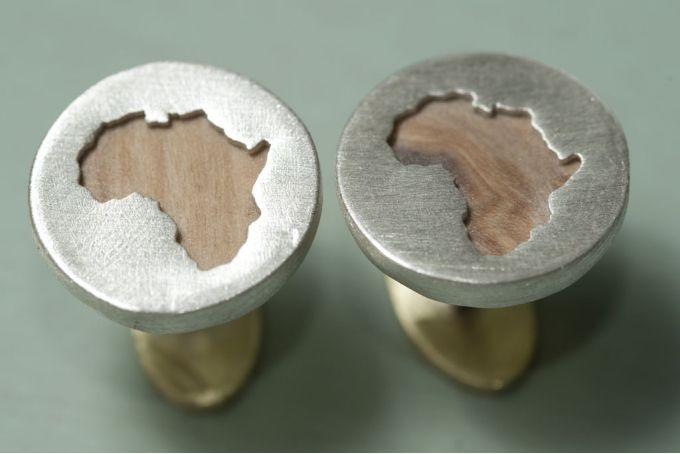 Silver and olive wood africa mens cufflinks by Natasha Wood Jewellery