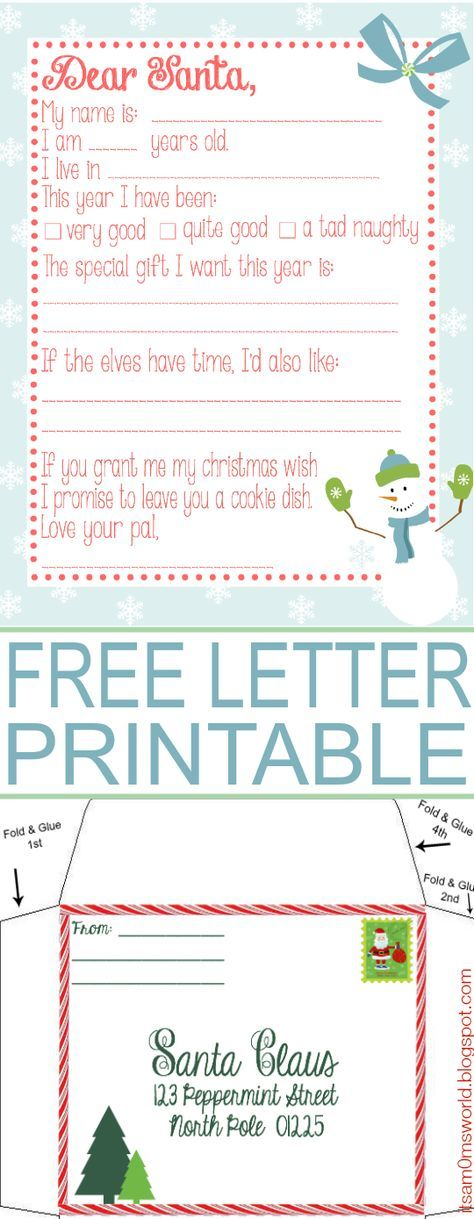 Free Wish List Printable With North Pole Envelope