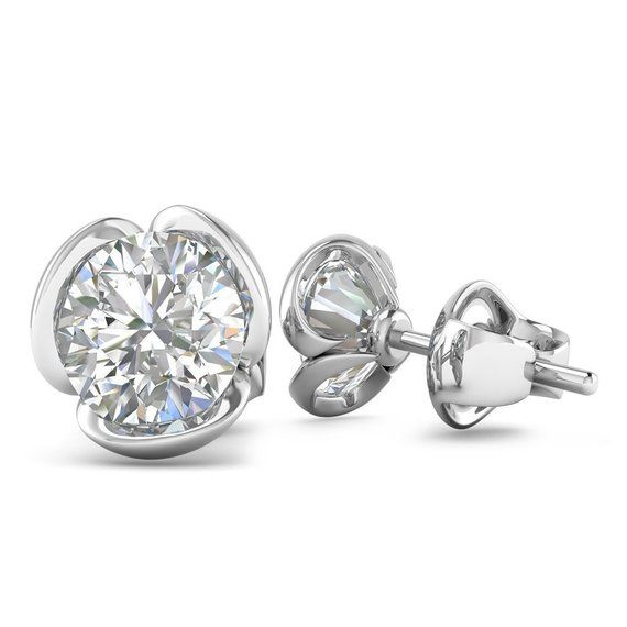 ecba3dd33 14k White Gold Vintage Flower Diamond Stud Earrings - 1.60 carat D-SI1  Natural, Butterfly Push-Backs