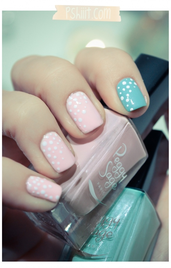 I like these colors togetherPeggy Sage, Colors Combos, Nails Art, Polka Dots Nails, Parties Nails, Dots Tools, Nails Polish, The Dots, Blue Nails