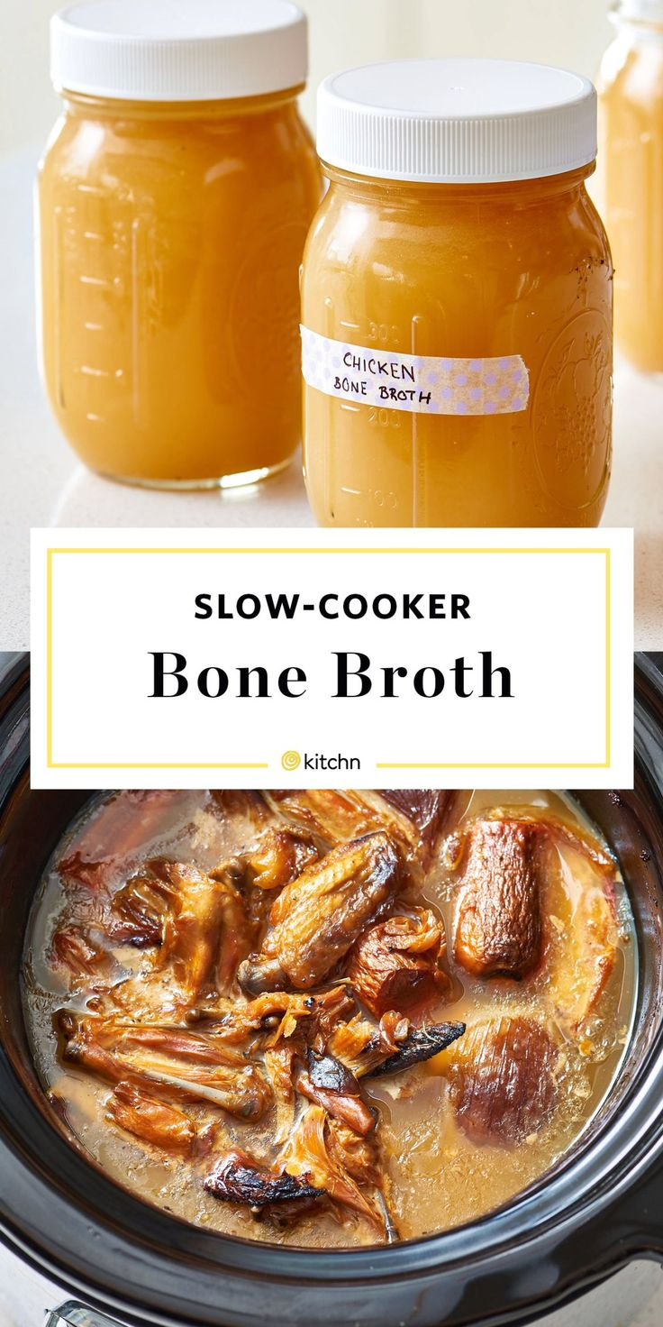 How to Make Easy, Homemade, Chicken Bone Broth at Home from Scratch. A Method for stovetop or your slow cooker or crockpot/crock pot. This Healthy comfort food broth is perfect in soups. chicken broth recipes easy homemade soup. You'll need chicken bones, onions, carrots, vinegar, and spices.