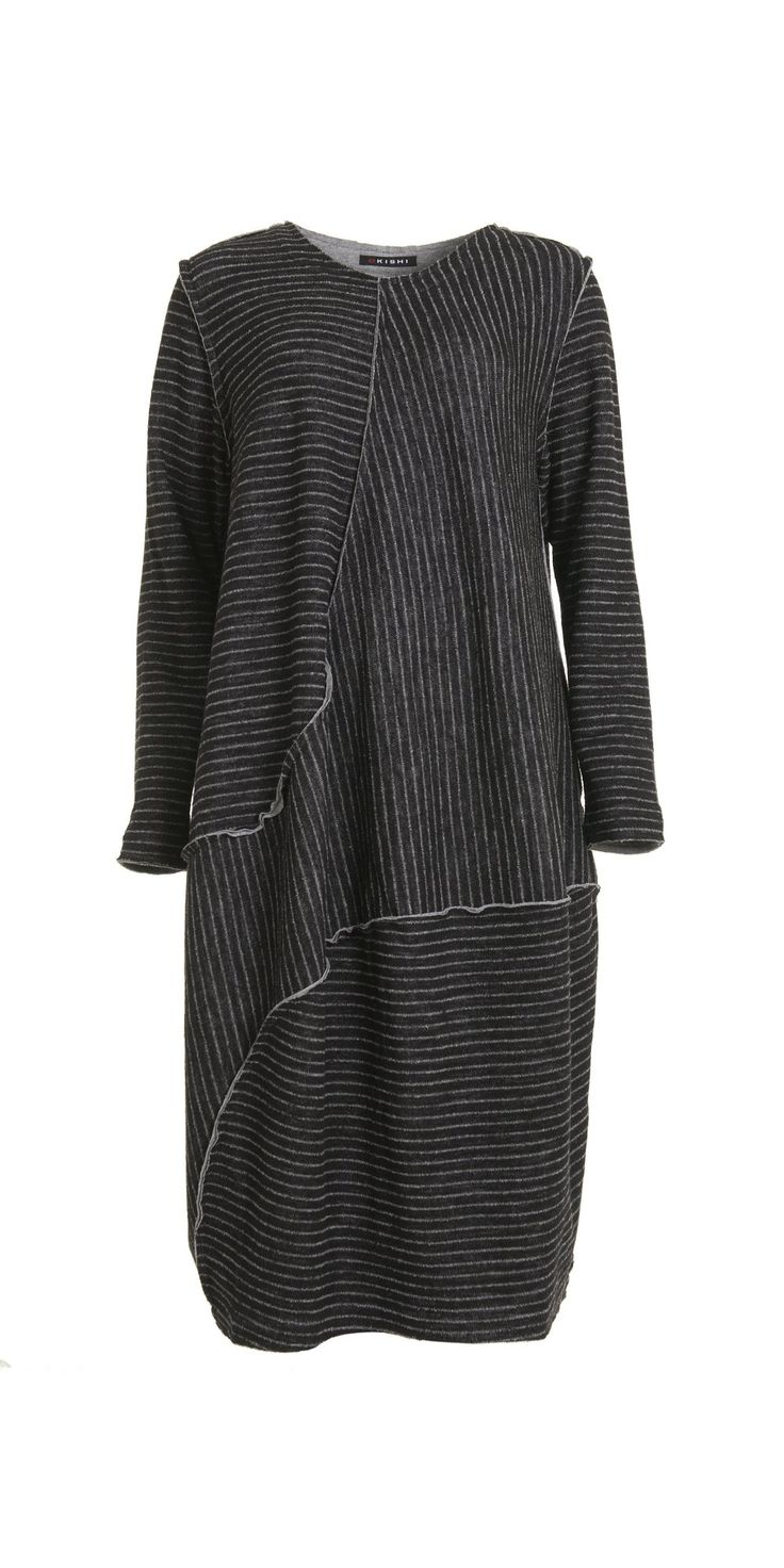 Okishi Raw Edge Black Stripe Dress