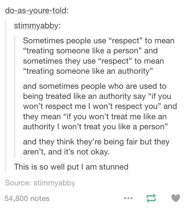 "Define ""respect"""