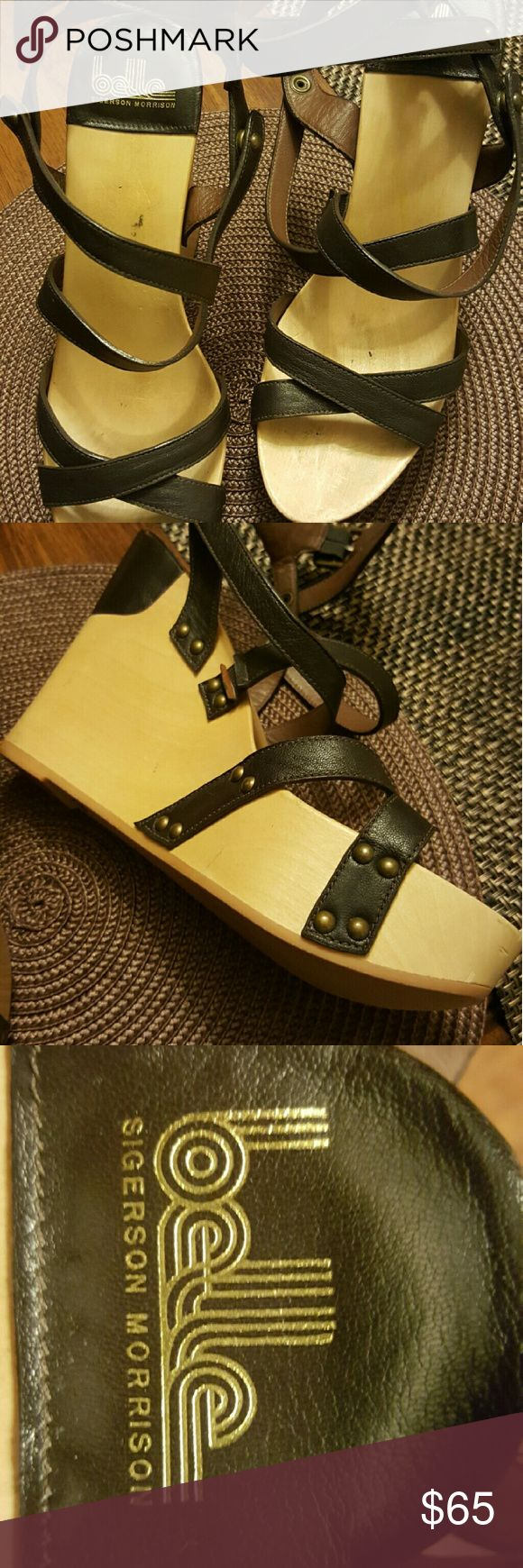 Belle by Sigerson Morrison Wooden wedge with rubber sole. Buckle and snap closures. Leather straps. Sigerson Morrison Shoes Wedges