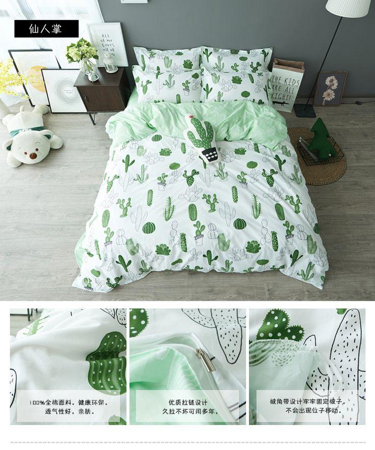 Simple estilo cactus plátano Nubes juego de cama de algodón 4 unids ropa de cama ropa de cama king queen twin size Edredón/duvet sábanas conjunto cubierta en Conjuntos de ropa de cama de Hogar y Jardín en AliExpress.com   Alibaba Group