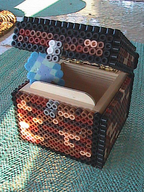 Minecraft Perler Bead Chest with Pixelated Tools inside by AngelFerret