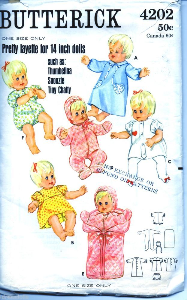 Butterick Thumbelina Doll Clothes Pattern Baby
