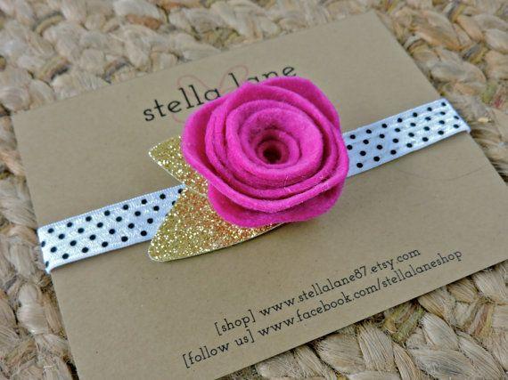 Fuchsia Rose Polka Dot Headband  black and white by StellaLane87