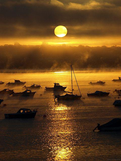boatsWater Reflections, Moon, Fish Boats, Devon England, Sunsets, Sunris, Beautiful Sunset, Places, Exes Estuary