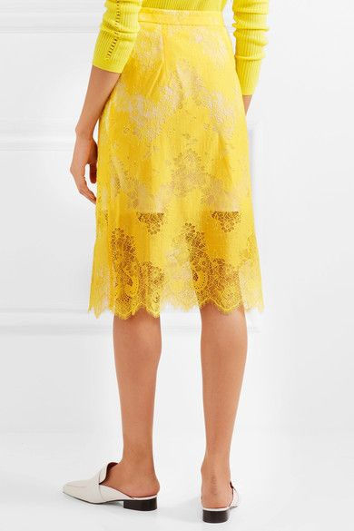 Carven - Belted Lace Skirt - Yellow - FR34