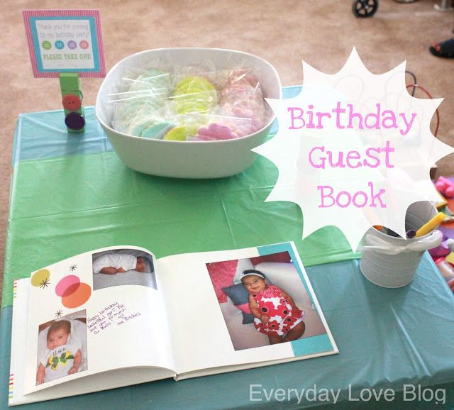 Birthday Guest Book. Made on Shutterfly, filled with pictures from the year and space for guests to sign.  I'll be doing thing each year!