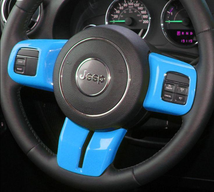 Amazon.com: E-cowlboy Car Interior Steering Wheel Decoration Trim Kits 3PCS For Jeep Wrangler Patriot Compass 2011-2017 (Light Blue): Automotive