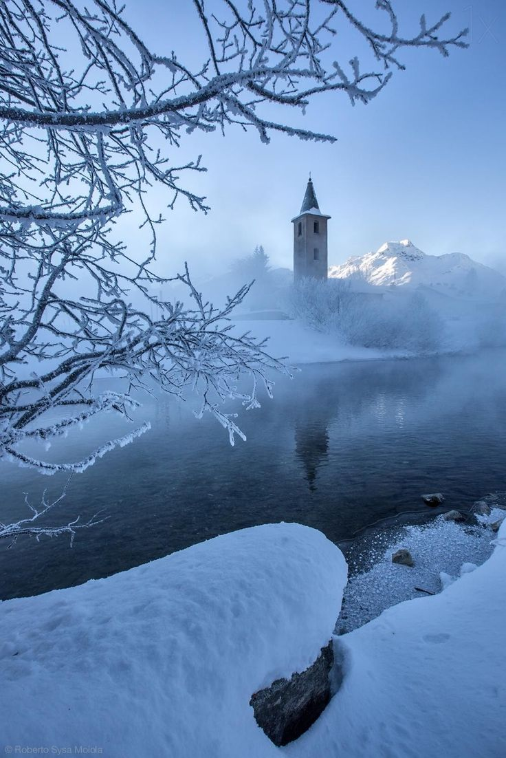 Sils Maria's church, Engadine - near St.Moritz, Switzerland