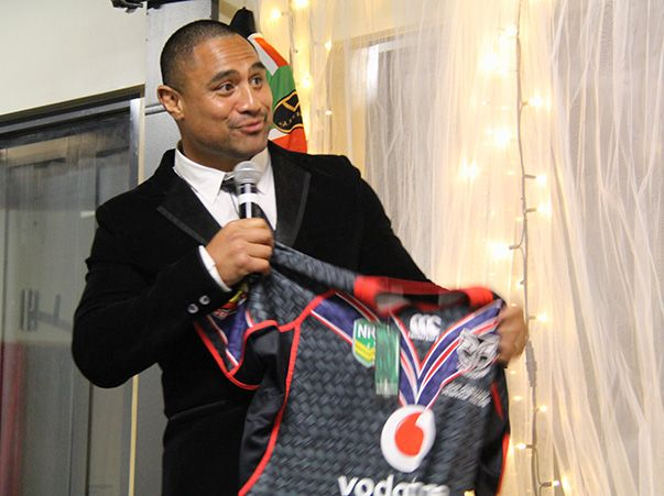 Vodafone Warriors representatives presented Joe a Vodafone Warriors heritage jersey embroidered with 'Warrior 56' on the chest. This was in recognition of his rugby league career that started at the Warriors back in 1998.