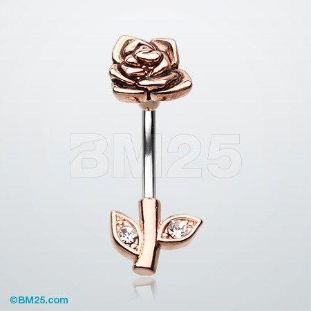 Rose Gold Full Blossom Rose Belly Button Ring