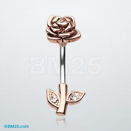 Rose Gold Full Blossom Rose Belly Button Ring