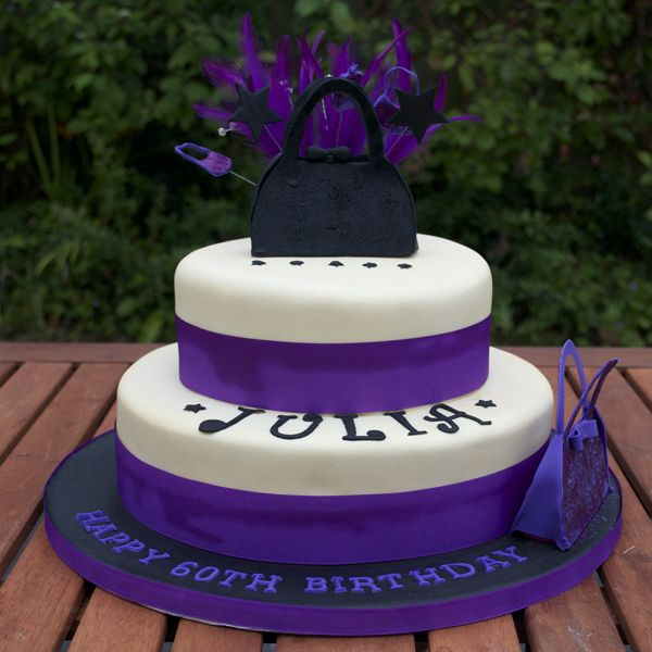 Purple & Black Handbag cake
